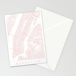 Manhattan New York Light Pink Minimal Street Map Stationery Cards