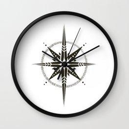 Compass Rose Illustration   Black on White Wall Clock