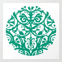 Green Floral Folk Art Art Print