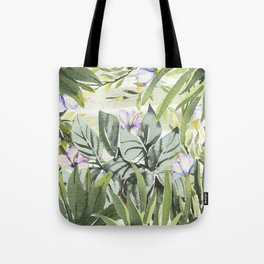 Tropical  lavender forest green watercolor floral Tote Bag