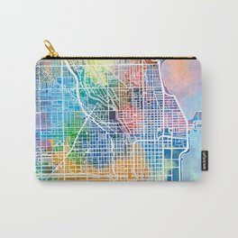 chicago map watercolor Carry-All Pouch