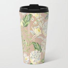 White flowers on the kraft Travel Mug