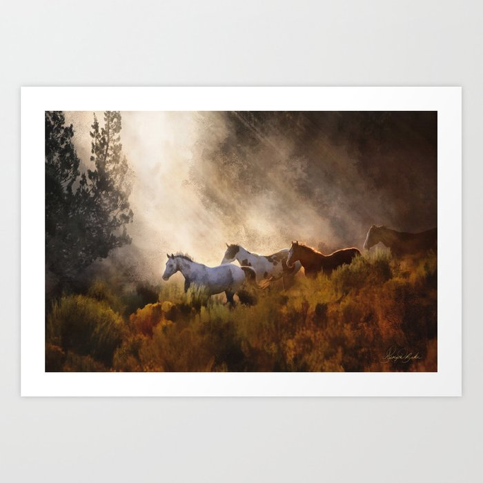 Horses in a Golden Meadow by Georgia M Baker Art Print