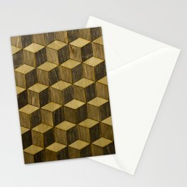 Optical wood cubes Stationery Cards
