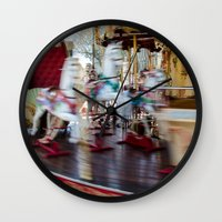 carousel Wall Clocks featuring Carousel by Sébastien BOUVIER