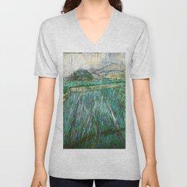 Vincent van Gogh - Wheat Field In Rain - Digital Remastered Edition Unisex V-Neck