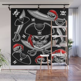 Skull Pirate Captain with Crossed Sabers Wall Mural