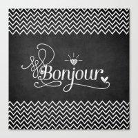 bonjour Canvas Prints featuring Bonjour by Crea Bisontine