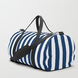 Navy and White Cabana Stripes Palm Beach Preppy Duffle Bag