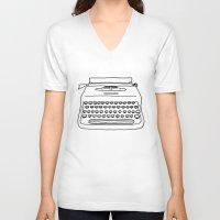 typewriter V-neck T-shirts featuring 'Typewriter' by Ben Rowe