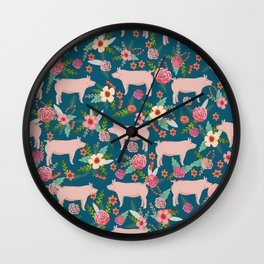 Pig florals farm homesteader pigs cute farms animals floral gifts Wall Clock
