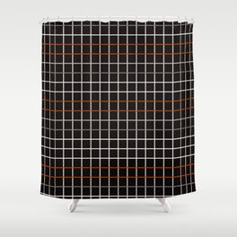 Minimalistic decorative grid in black, orange, white and grey Shower Curtain