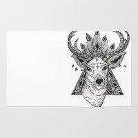 reindeer Area & Throw Rugs featuring Reindeer  by Kate Zessel