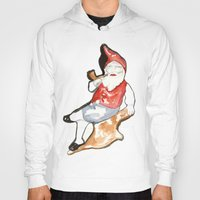 gnome Hoodies featuring Reclining Gnome  by Ryan Hodge Illustration