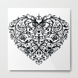 Intricate Heart- Monochrome Metal Print