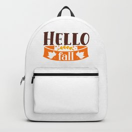 Hello Fall Cute Girly Autumn Typography Quote Backpack