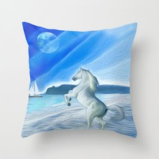 My Design - Beach with moon and horse Throw Pillow