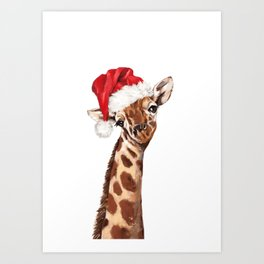 Christmas Giraffe Kunstdrucke