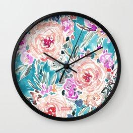 WAHINE WAYS Aqua Tropical Floral Wall Clock