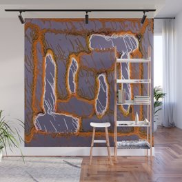 vintage psychedelic painting texture abstract background in orange and grey Wall Mural