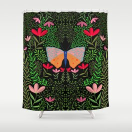 Butterfly in The Garden 01 Shower Curtain