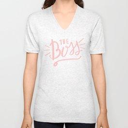 The Boss - pink/white Hand lettering Unisex V-Neck