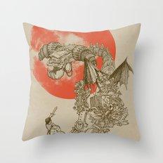 Junkyard Dragon (monochrome version) Throw Pillow