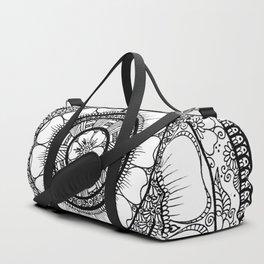 Circle - Mandala - Love Wealth Health Youthfulnes - White Black Duffle Bag