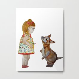 Child and Small Kangaroo (Watercolour) Metal Print