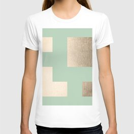 Simply Geometric White Gold Sands on Pastel Cactus Green T-shirt