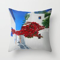 greece Throw Pillows featuring Greece by maggs326