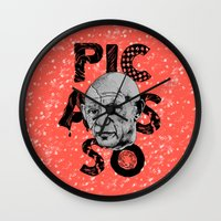 pablo picasso Wall Clocks featuring Pablo Picasso - History of Art by RJ Artworks
