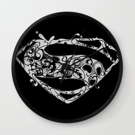 Superman logo grey Wall Clock