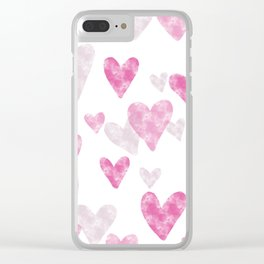 Pink Heart Confetti Clear iPhone Case