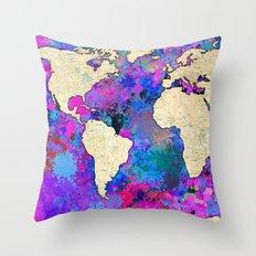 World Map - Magenta Throw Pillow