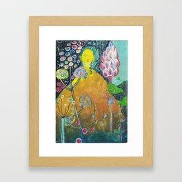 Budha in the garden Framed Art Print