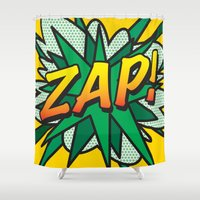 comic book Shower Curtains featuring Comic Book ZAP! by Thisisnotme
