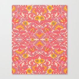 Pink Vines and Folk Art Flowers Patterns Canvas Print