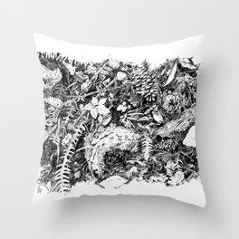 Inky Undergrowth Throw Pillow