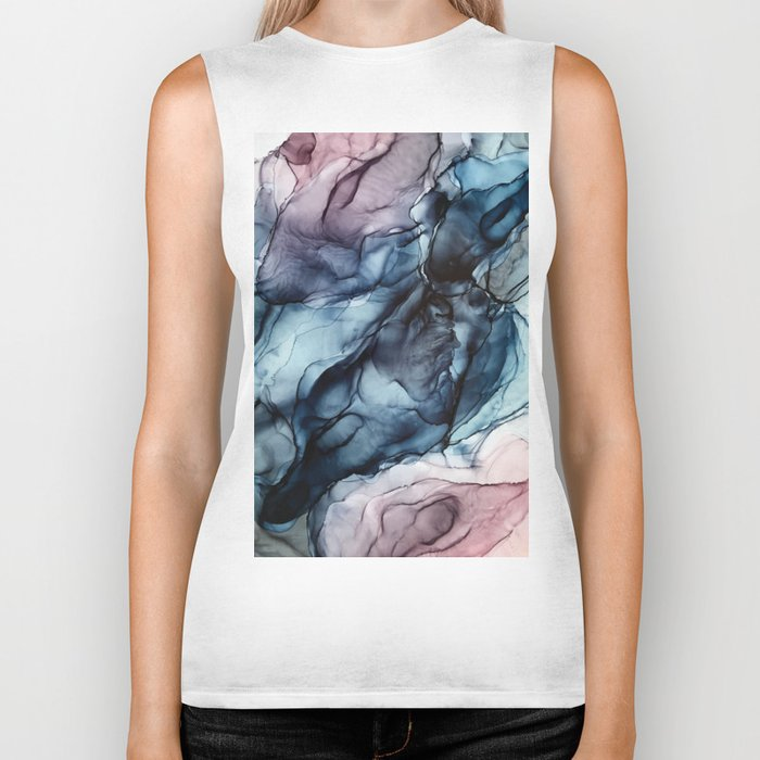 Blush and Darkness Abstract Paintings Biker Tank