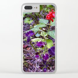 Floral Print 047 Clear iPhone Case