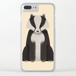 Woodland Critters Series: Badger Clear iPhone Case
