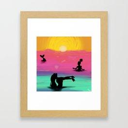 Mermaids in the Sunset Framed Art Print