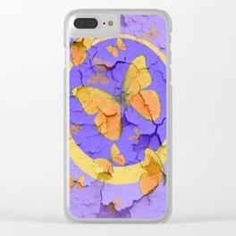 OLD YELLOW BUTTERFLIES &  LILAC WALLPAPER MODERN ART  f Clear iPhone Case