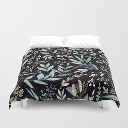 Black Eucalyptus Pattern Duvet Cover