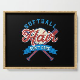 Funny Softball Hair Don't Care Baseball Sport Gift Serving Tray