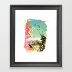 Psychedelic Landscape with Tree Framed Art Print