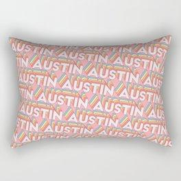Austin Texas Trendy Rainbow Text Pattern (Pink) Rectangular Pillow