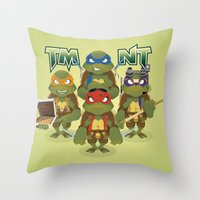 tmnt Throw Pillows featuring TMNT by Micka Design