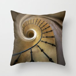 Golden spiral staircase Throw Pillow